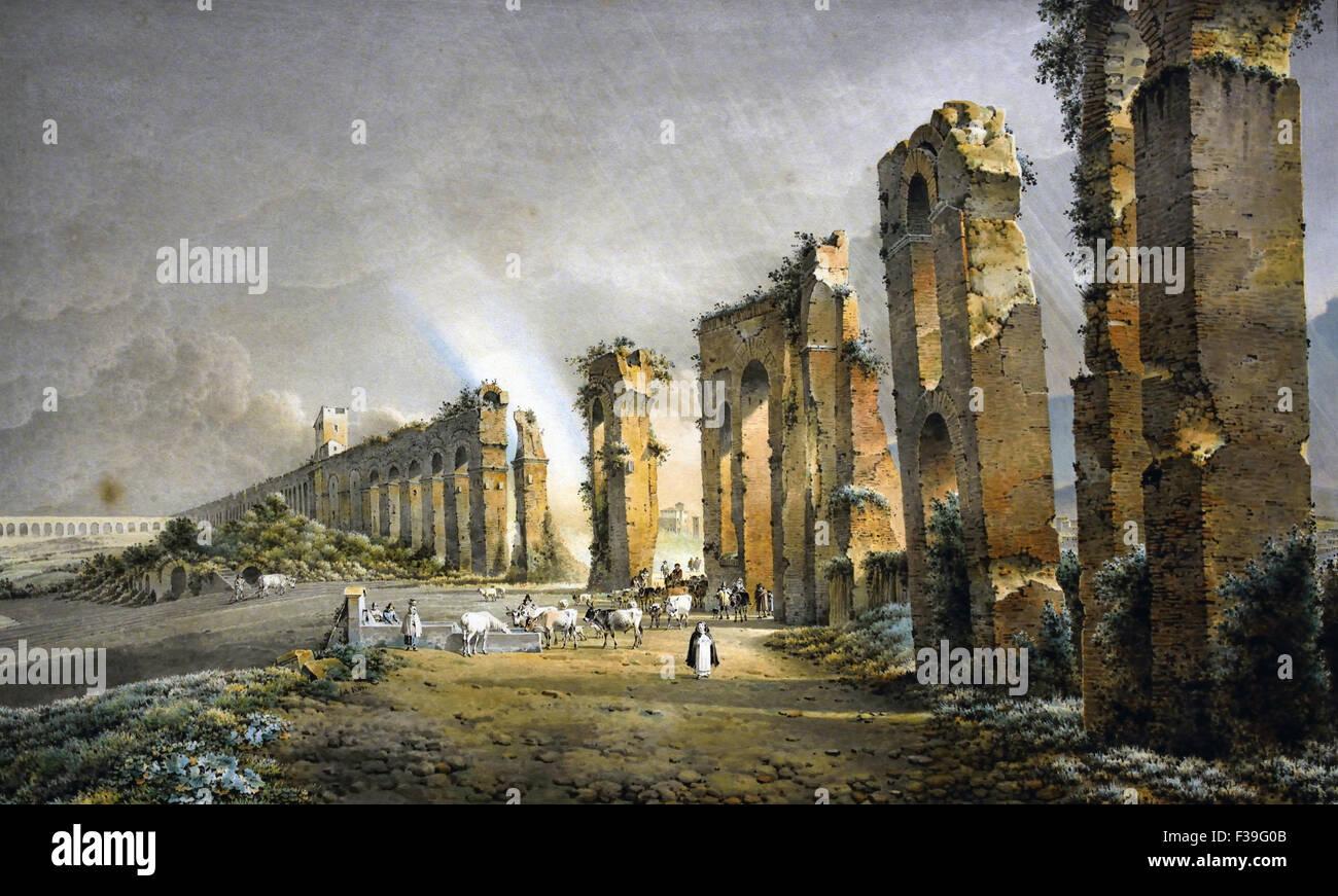 A Rainbow over the Ruins of the Aqueduct of Claudius 1815 Rome ( Italy Italian ) Josephus Augustus Knip 1777-1847 - Stock Image