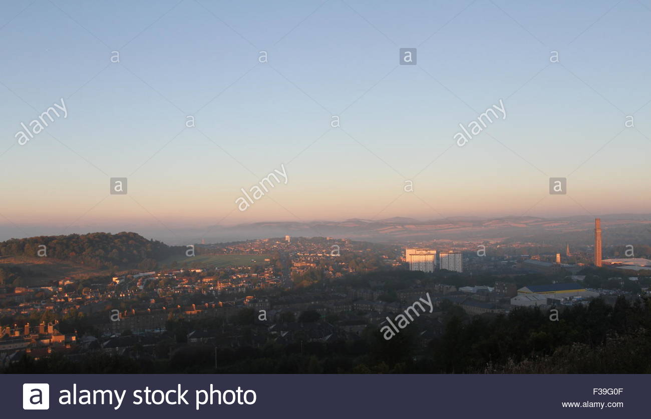 Elevated view of Dundee including Balgay Hill and Lochee Park at dawn Scotland June 2015 - Stock Image