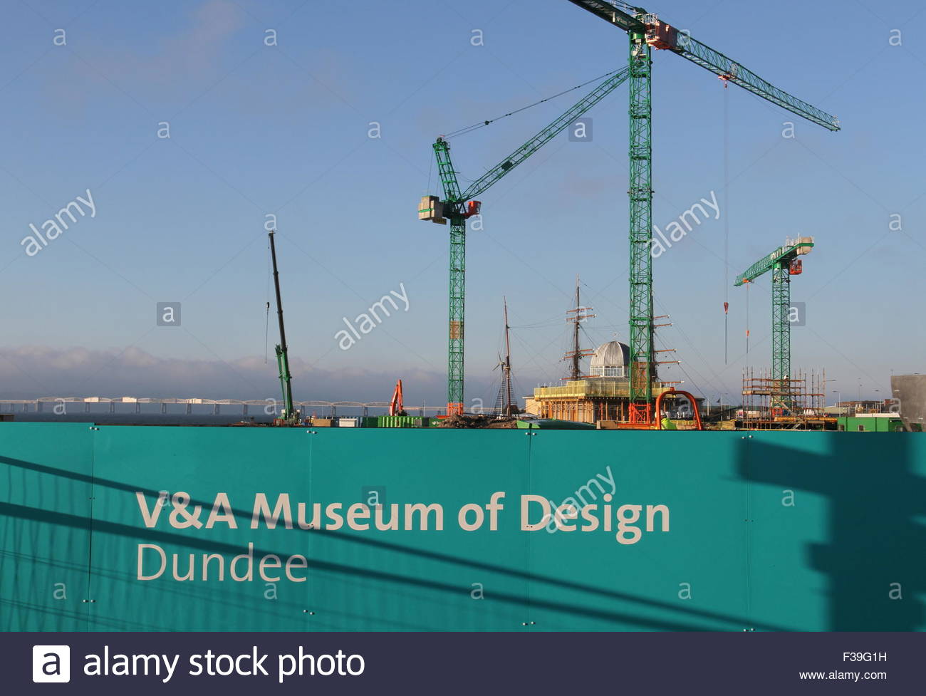 Cranes at Victoria and Albert Design Museum Construction site Dundee Scotland  October 2015 Stock Photo