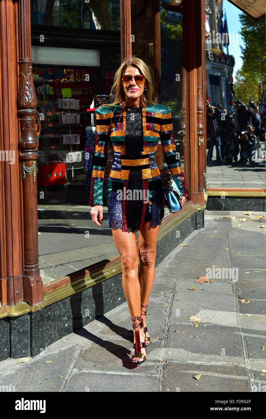 3b638d482a8b Editor of Vogue Japan Anna Dello Russo posing outside of the Balmain runway show  during Paris Fashion Week - Oct 1