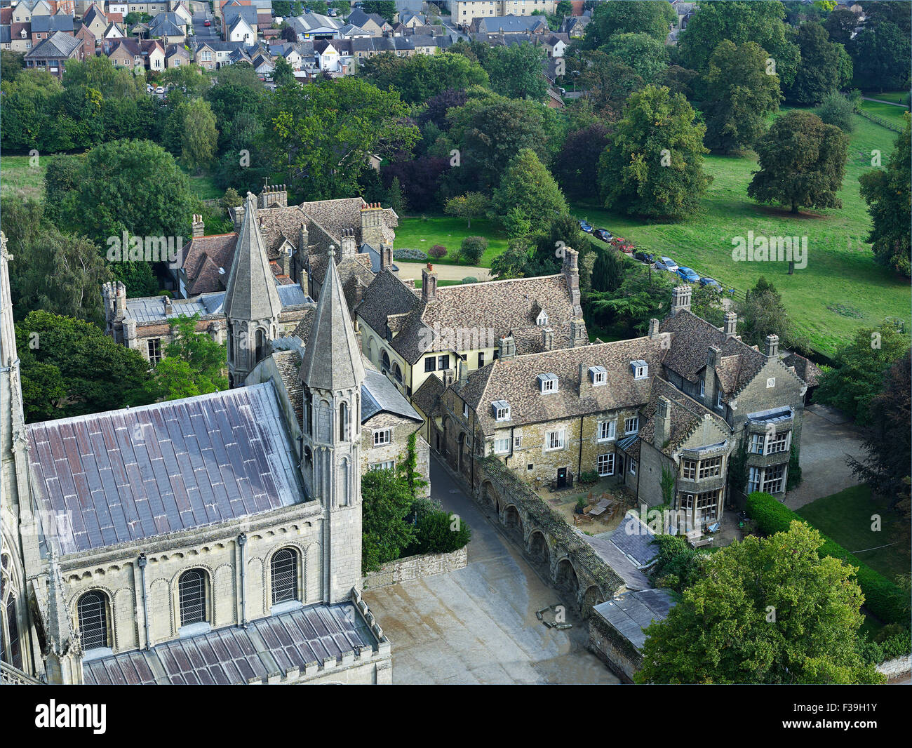 Ely monastic buildings from cathedral roof - Stock Image