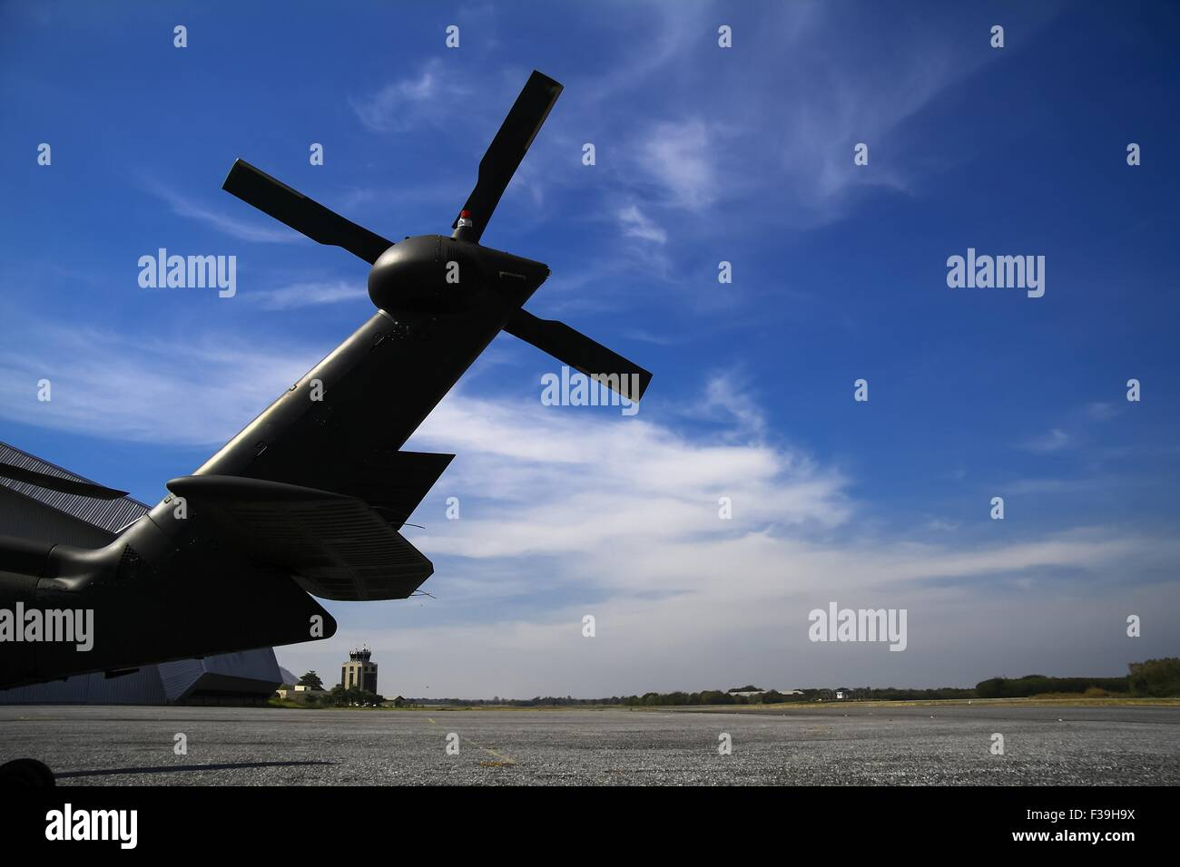 Helicopter Tail Rotor Blade Blue sky Blackhawk - Stock Image