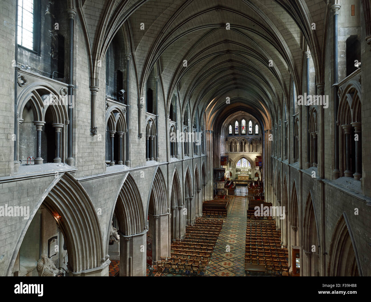 St Patrick's Cathedral Dublin nave - Stock Image