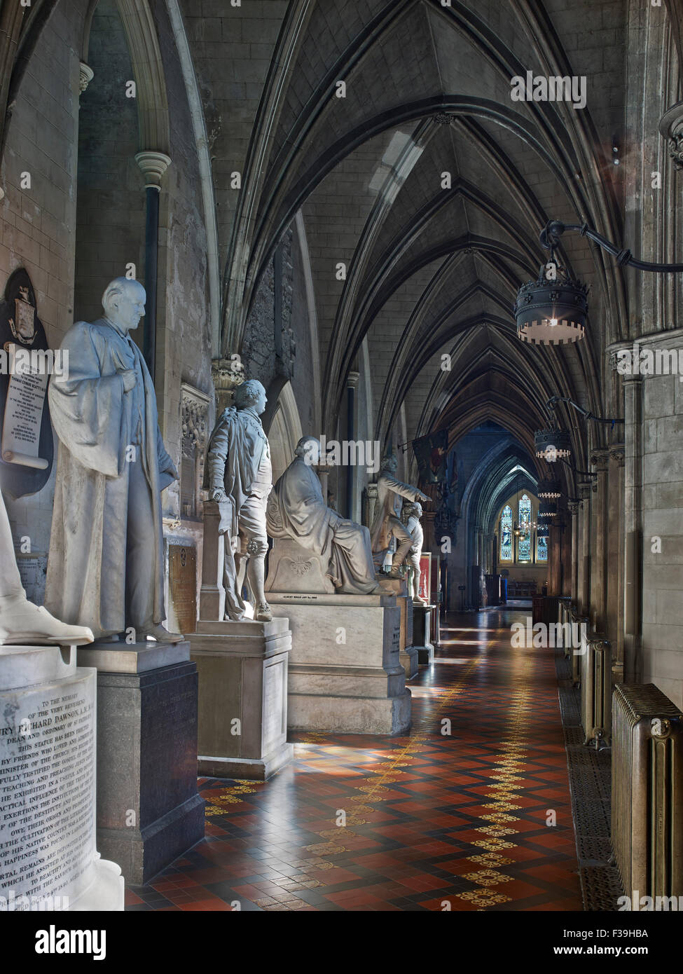 St Patrick's Cathedral Dublin nave aisle - Stock Image