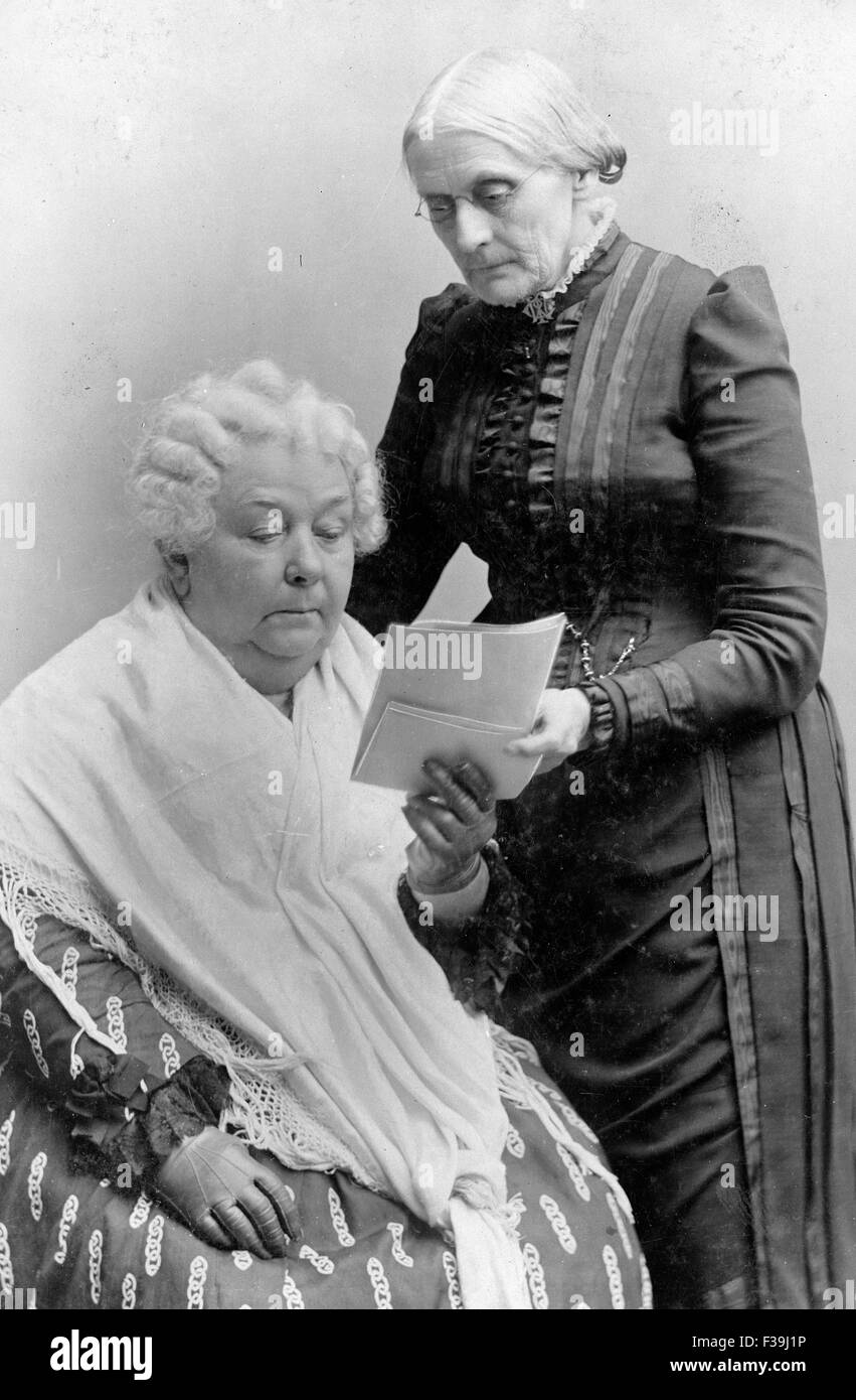 Elizabeth Cady Stanton, seated, and Susan B. Anthony - Stock Image