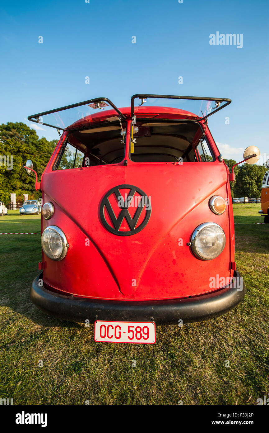 Temploux, Belgium, August 22,: Volkswagen vintage T1 bus with split screens at the 10th meeting VW aircooled du - Stock Image