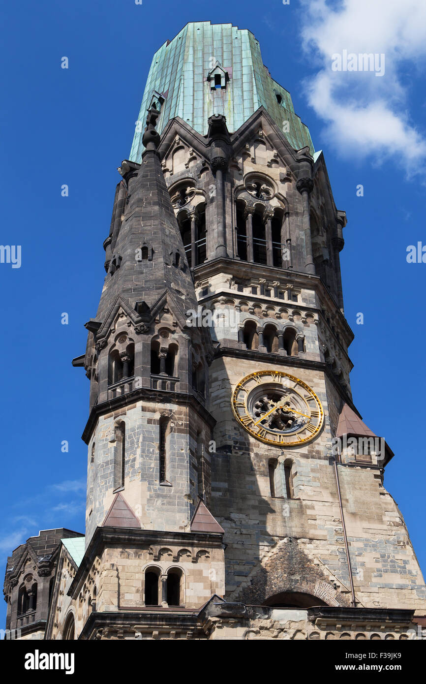 Damaged spire of the Kaiser Wilhelm Church in Berlin, Germany. - Stock Image