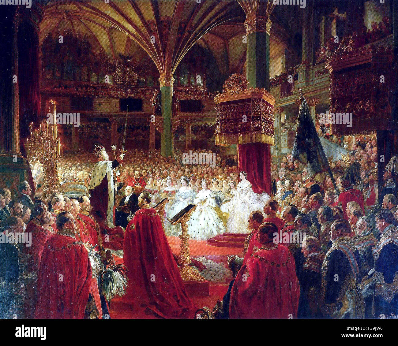 Coronation of William I as King of Prussia at Königsberg Castle in 1861 Stock Photo