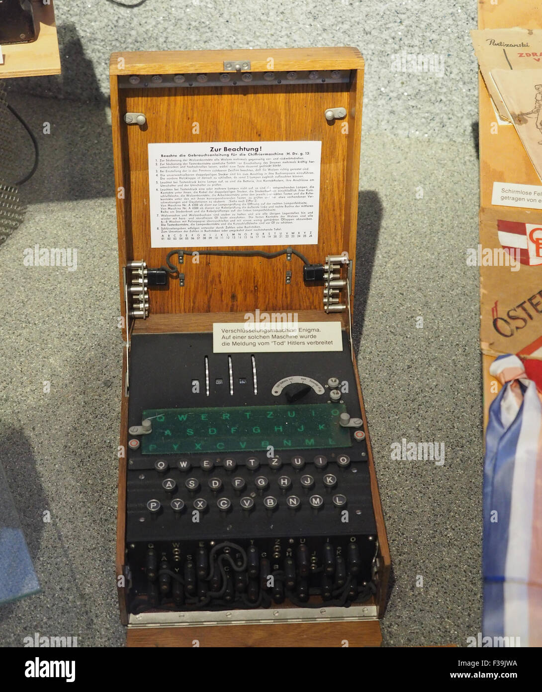 Enigma code machine on display in The Museum of Military History in Vienna, Austria - Stock Image