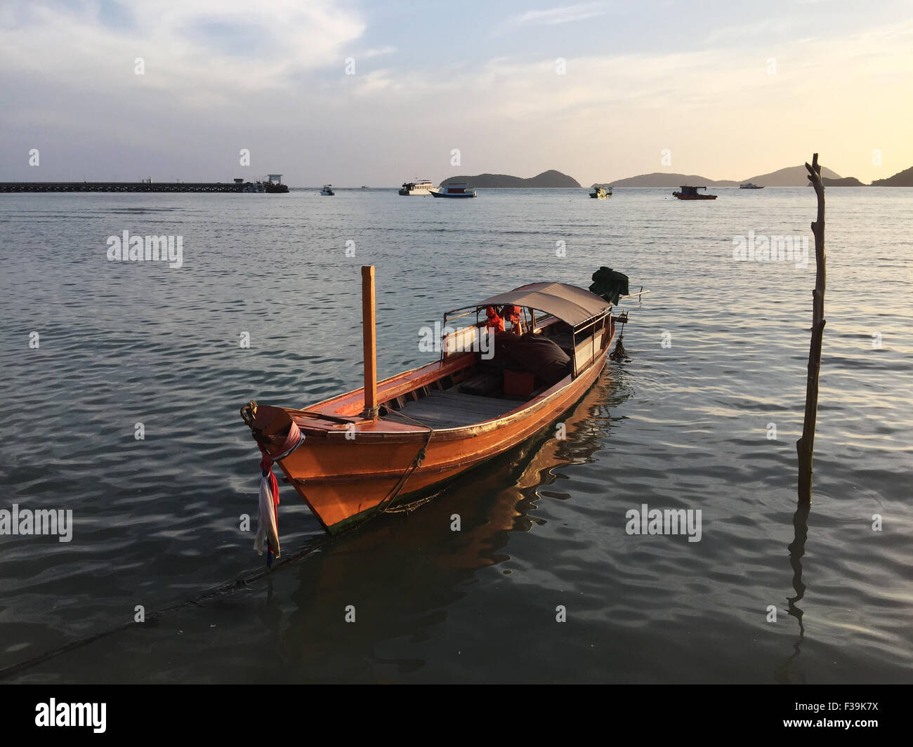 Anchored motorboat, Phuket, Thailand - Stock Image
