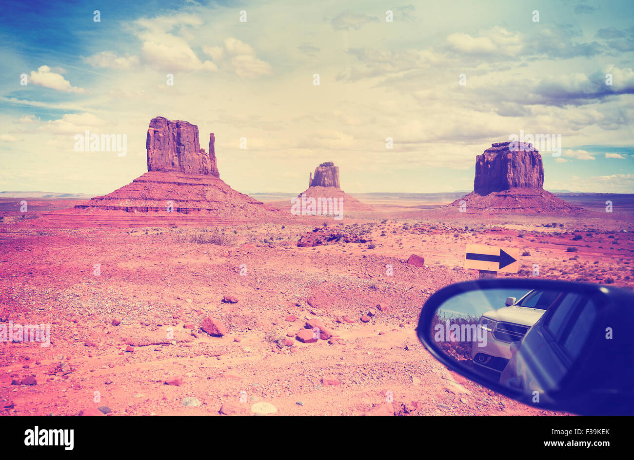 Vintage instagram style wing mirror in Monument Valley, USA. - Stock Image