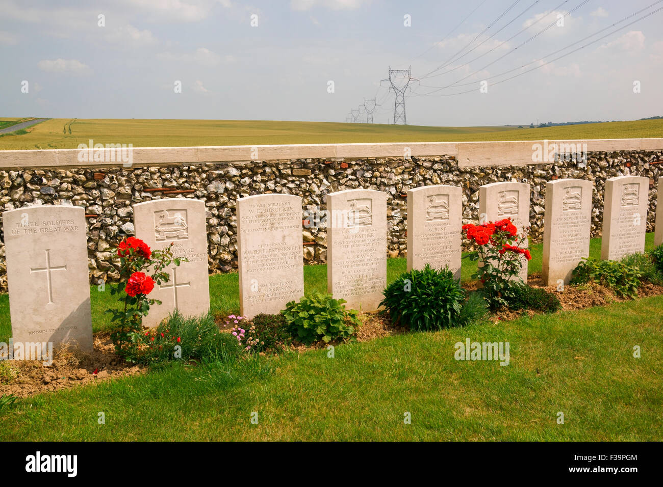 A poignant line of headstones in the Owl Trench WWI cemetery in the Battle of the Somme area of the pas de calais - Stock Image