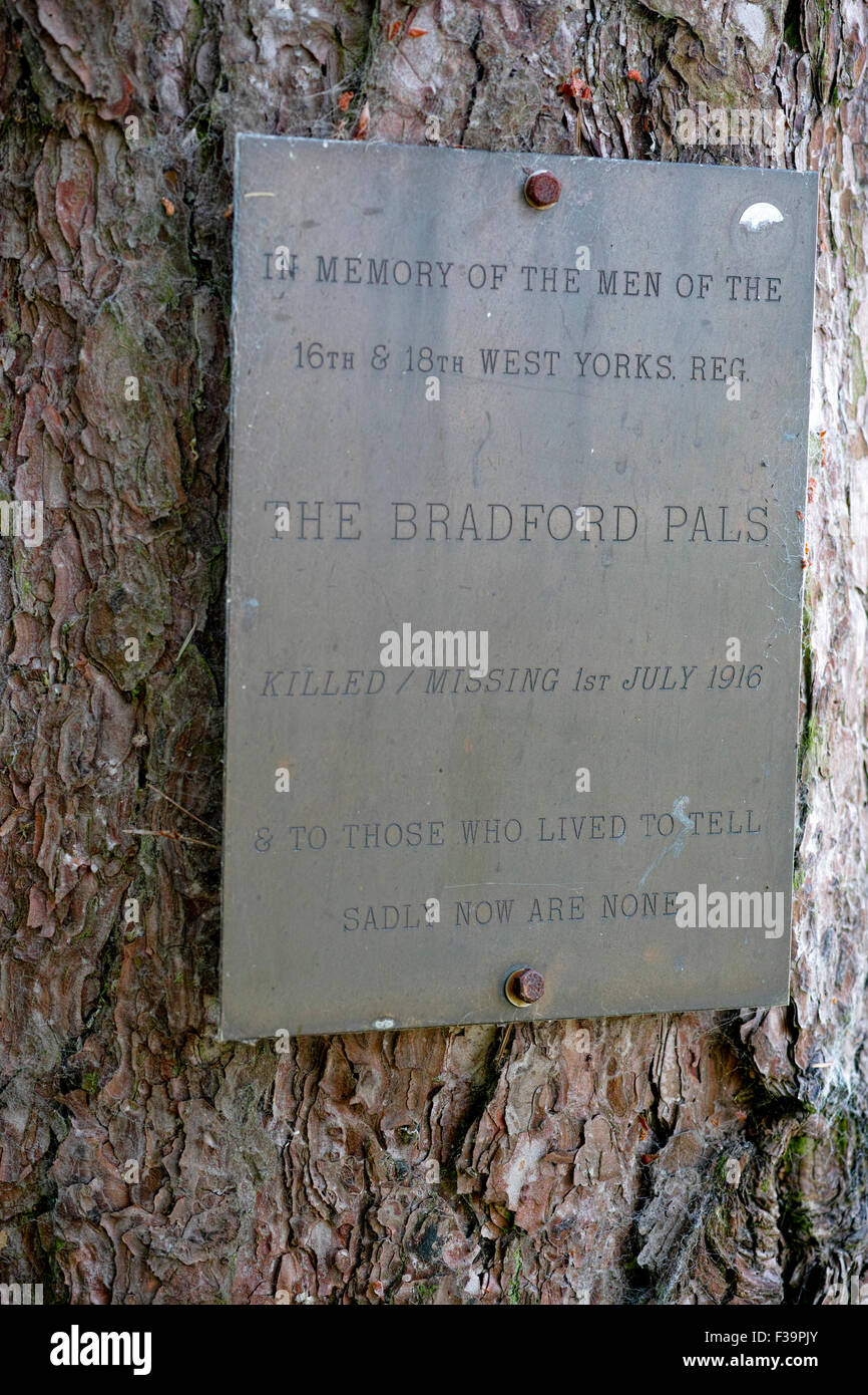 Poignant plaque in the Sheffield Memorial Park to the Bradford Pals many of whom died in the Battle of the Somme, Stock Photo