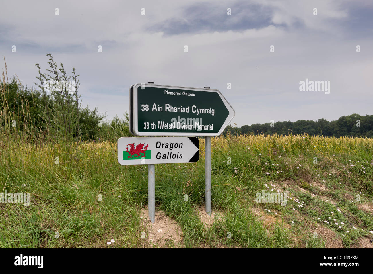 The only road sign in Welsh on the Somme battlefield in France showing the direction of Mametz Wood fought in July Stock Photo