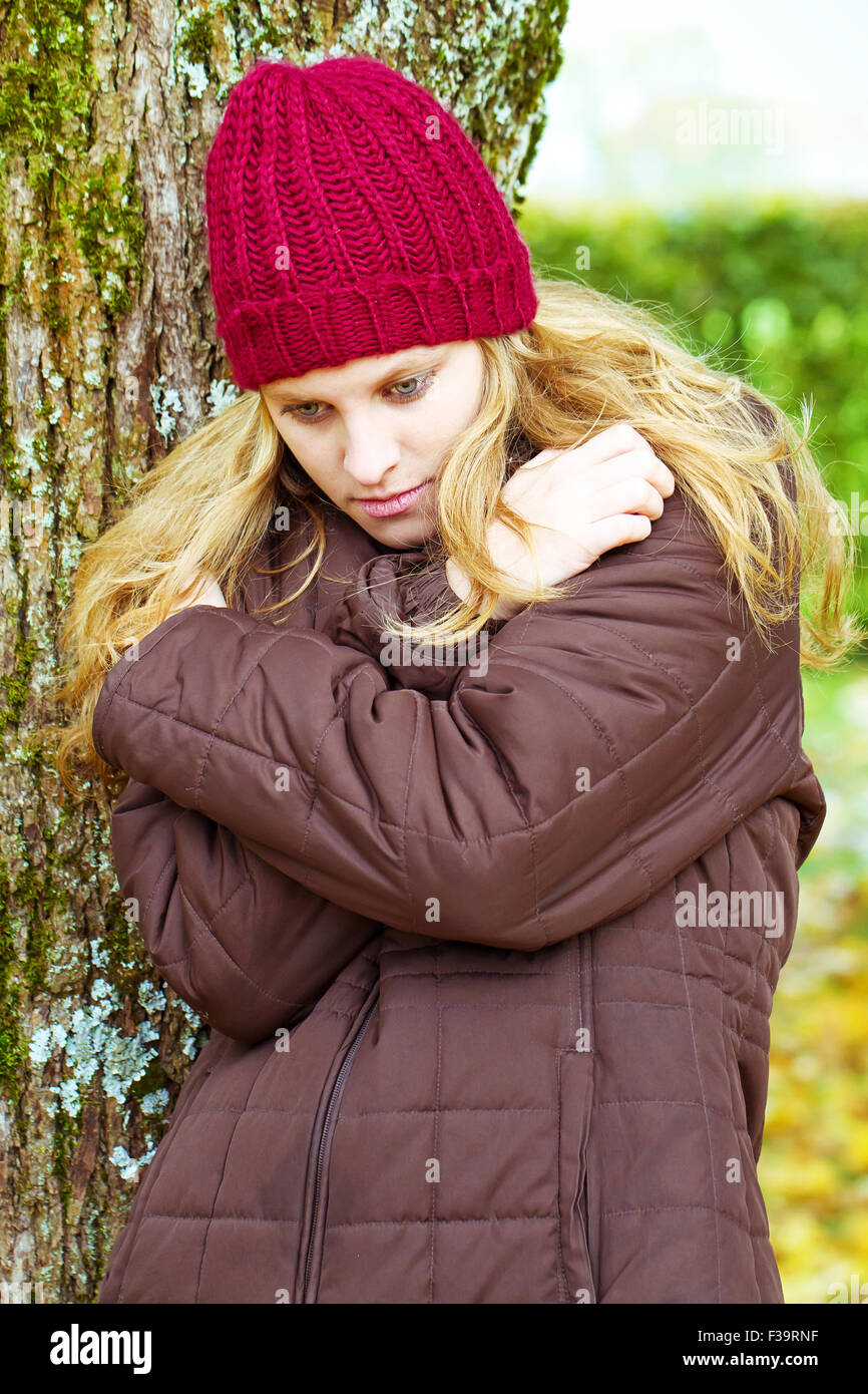 Depressive young woman - Stock Image