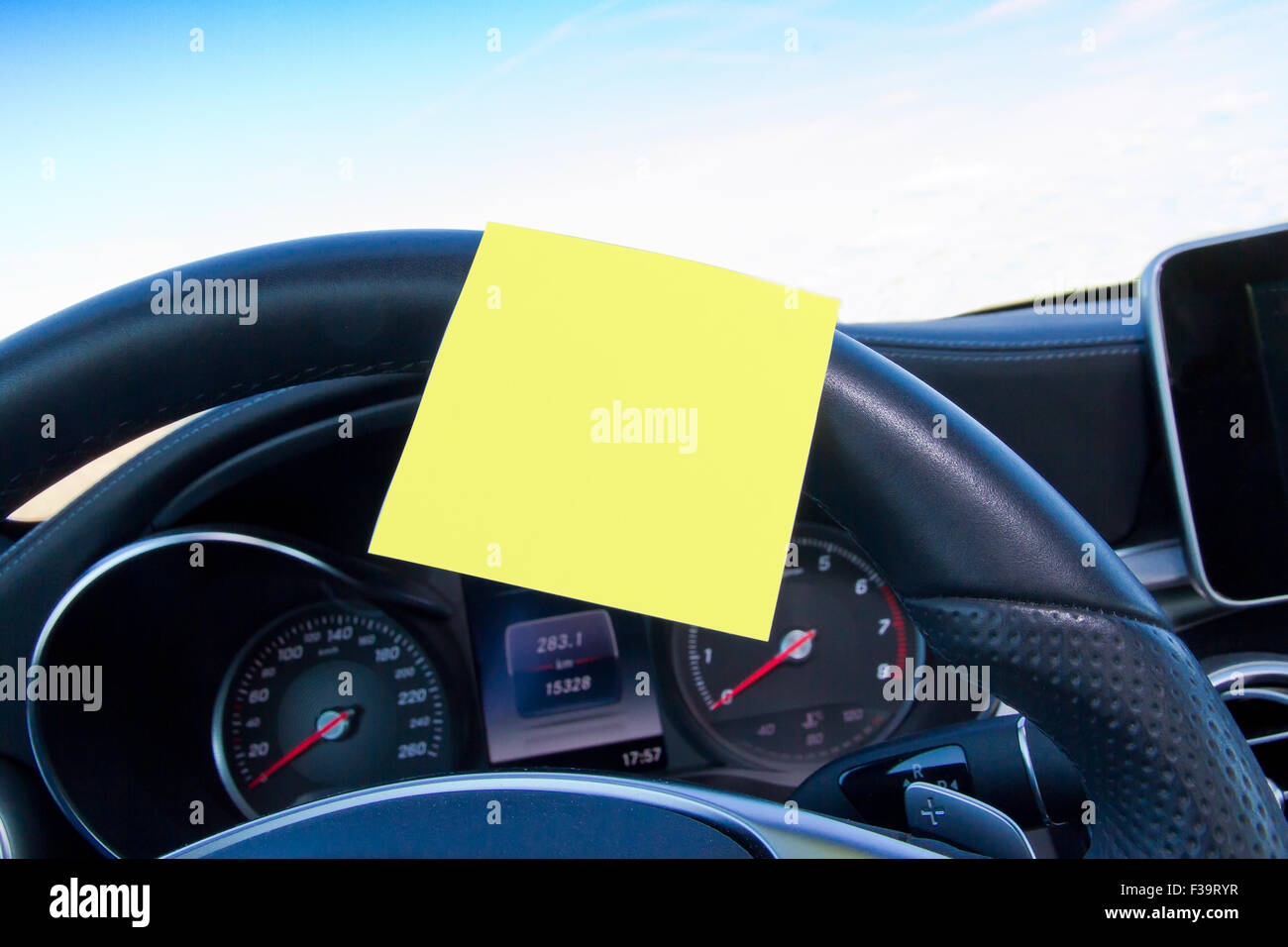 Blank reminder in a car - Stock Image
