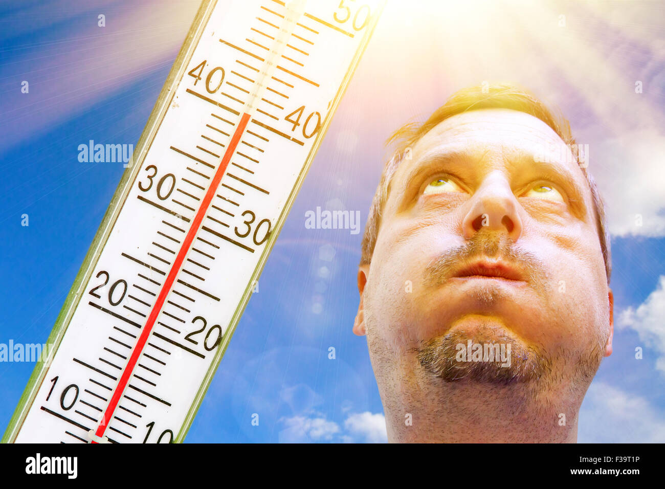 Man on very hot day - Stock Image