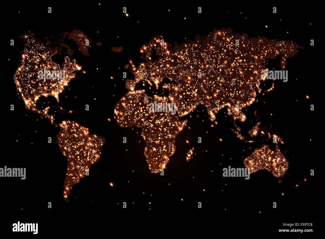 Abstract world map with lights stock photo 88112536 alamy abstract world map with lights gumiabroncs Choice Image