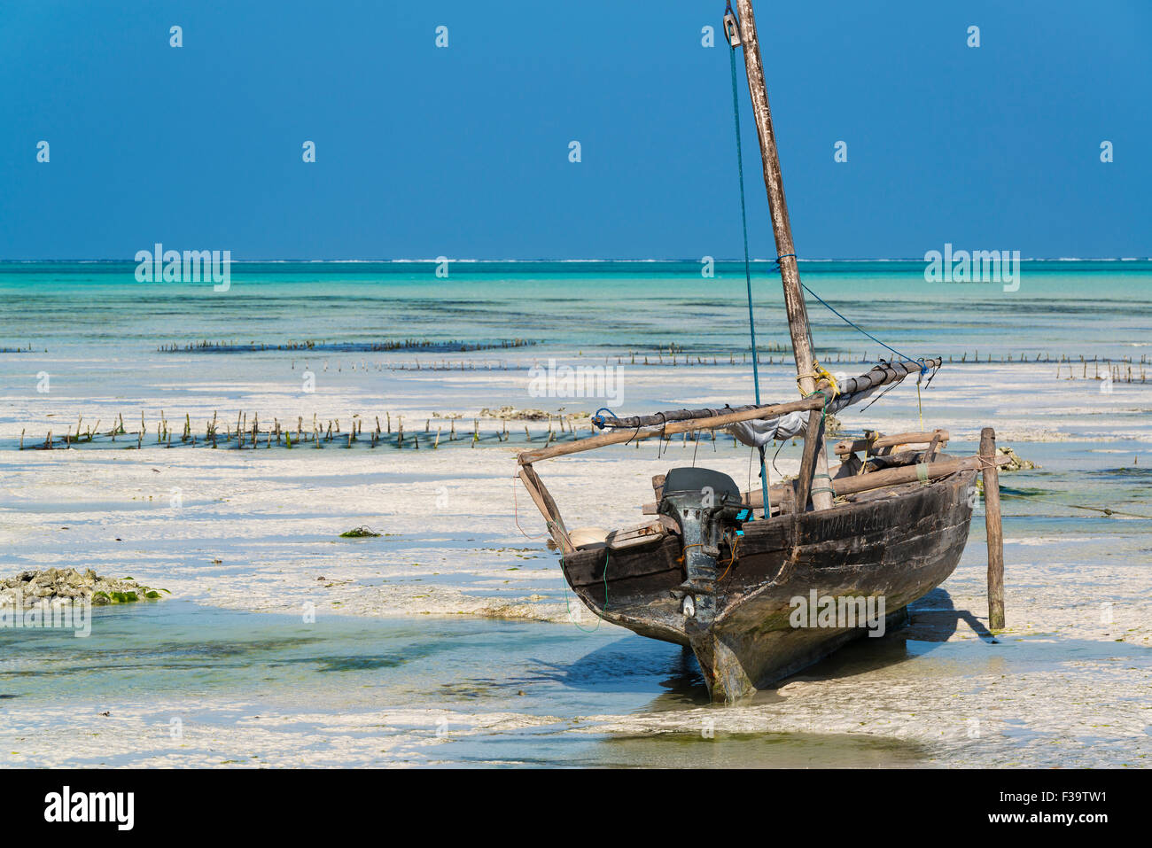 Low Tide in Zanzibar - Stock Image