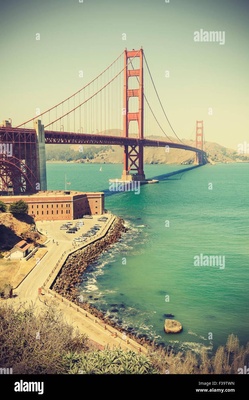 Old film retro style Golden Gate Bridge in San Francisco, vignette effect, USA. - Stock Image