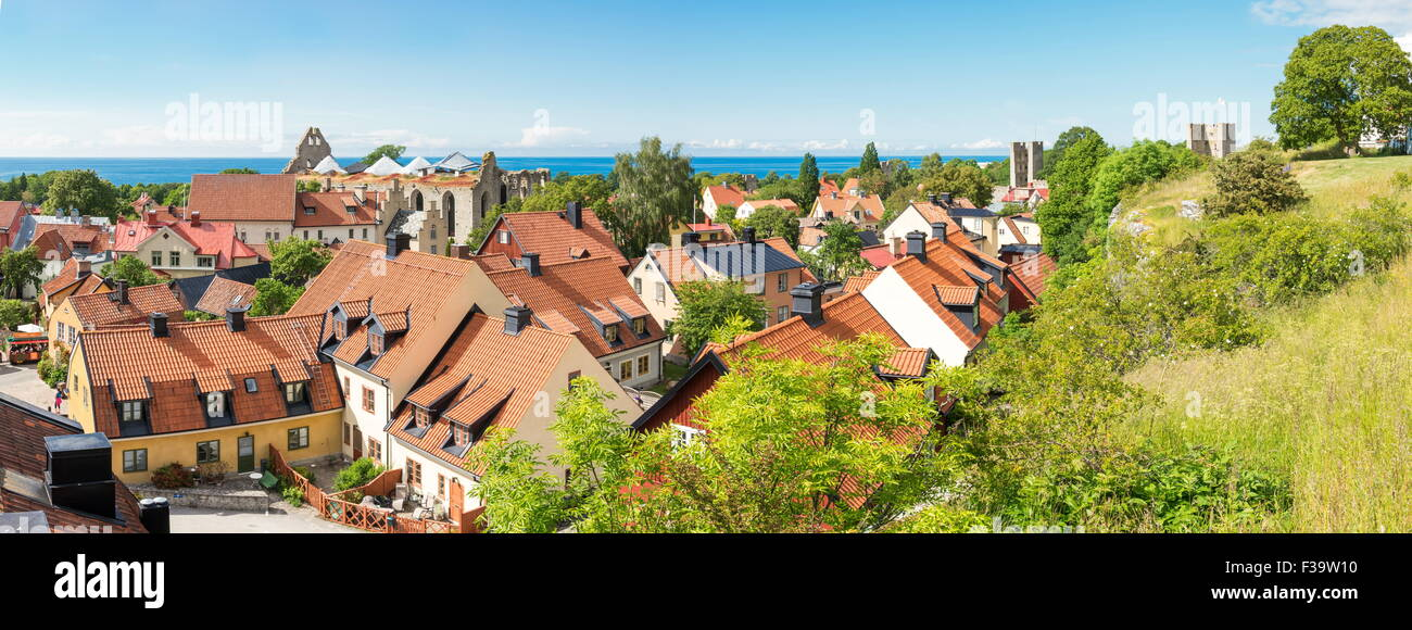 Visby city panorama - Stock Image