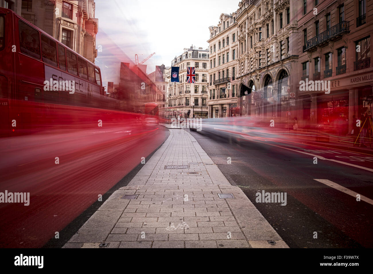 Regent Street in London with blur of traffic. HDR. - Stock Image