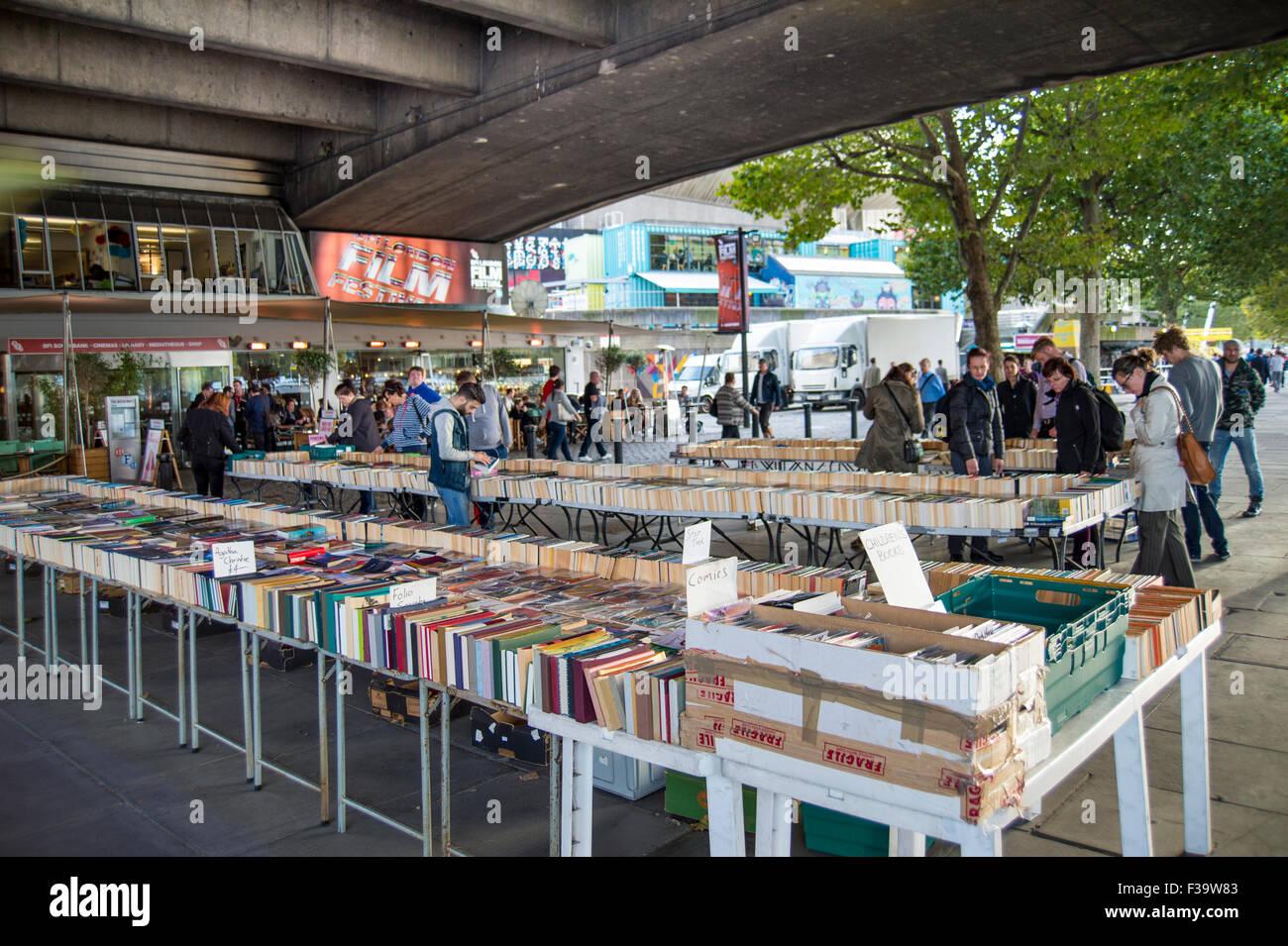 Secondhand bookstall on London's southbank under Waterloo bridge. - Stock Image