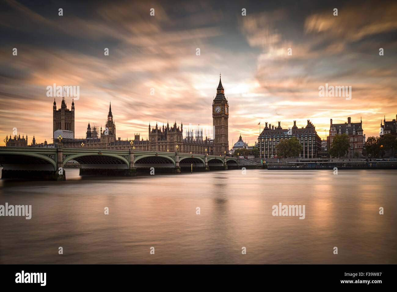Big ben and Westminster Bridge in London at dusk. - Stock Image