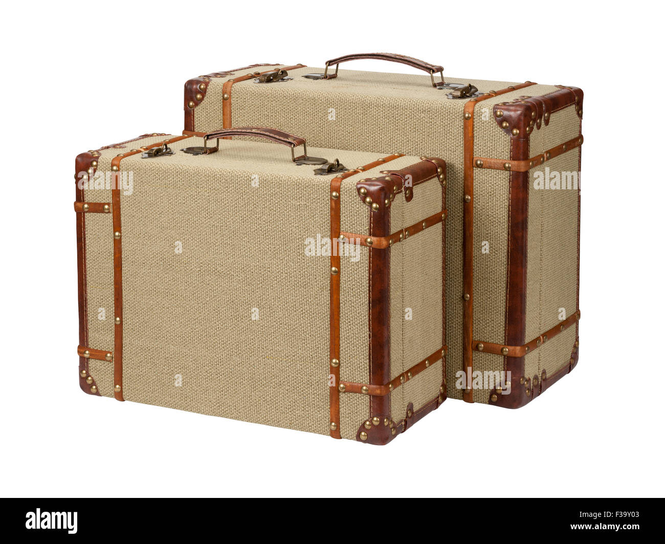 Two Standing Wood Burlap Suitcases.  The image is a cut out, isolated on a white background. - Stock Image