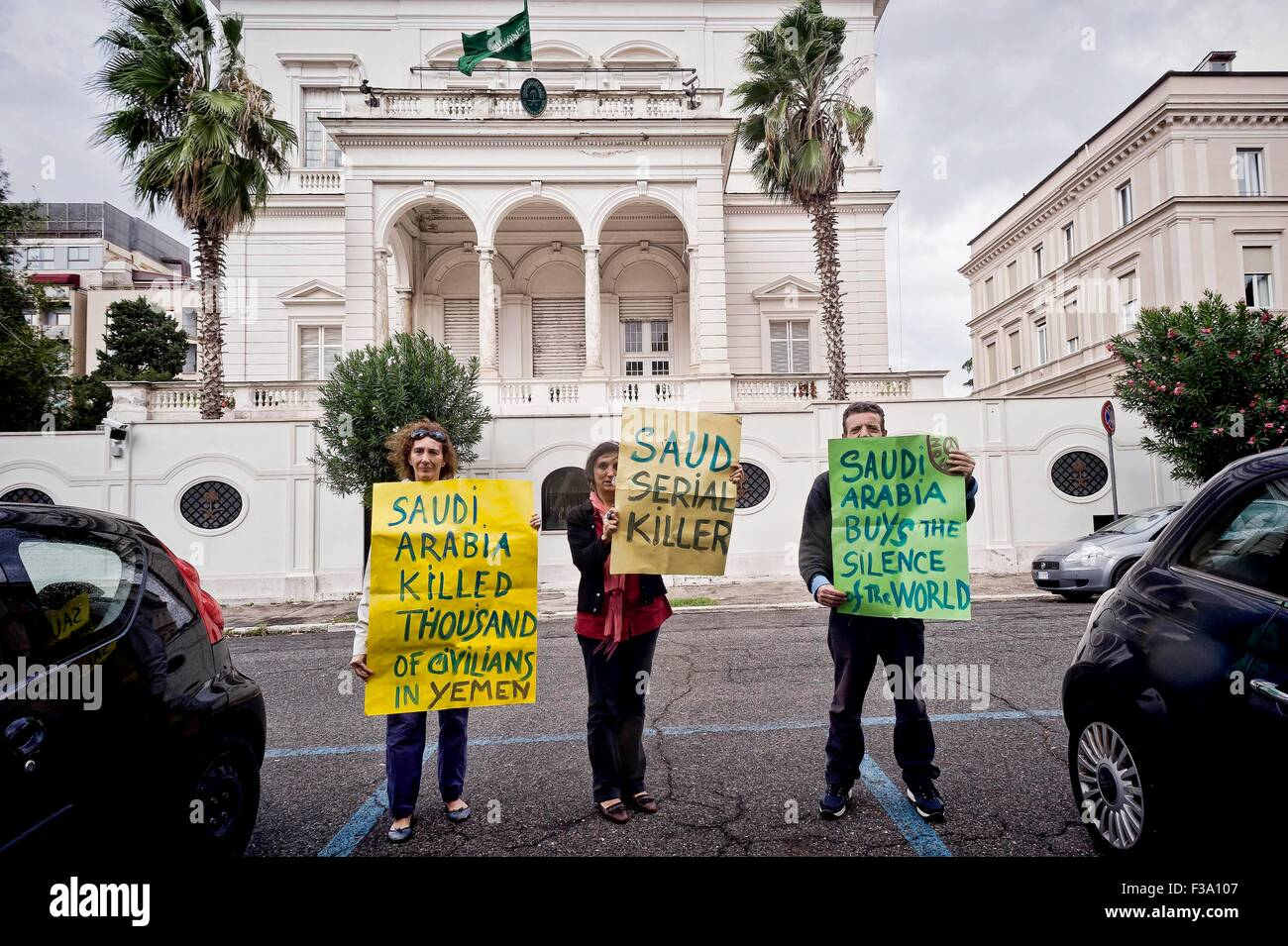 Rome October 2, 2015  The No War Network, demonstrates outside the Embassy of Saudi Arabia for the release of Ali - Stock Image