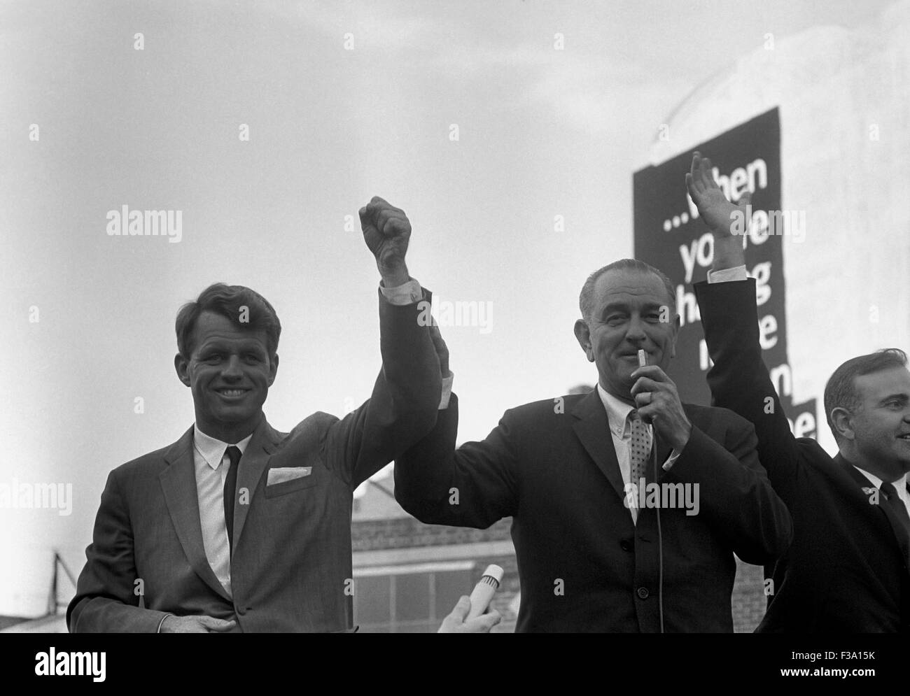 Digitally restored photo of President Lyndon Johnson campaigning with Robert Kennedy in 1964. - Stock Image