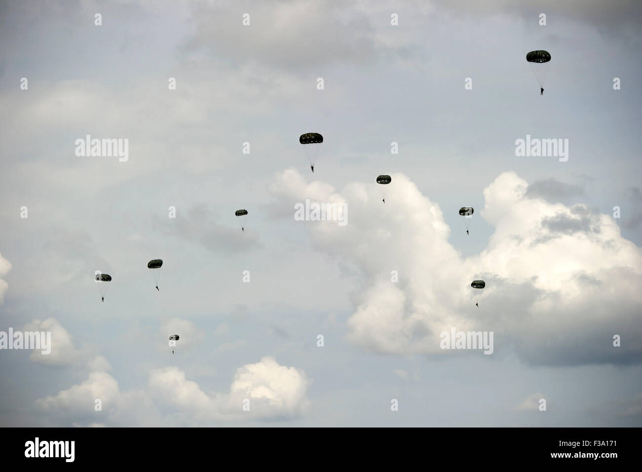 April 28, 2013 - Jumpers from 7th Special Forces Group (Airborne) and soldiers from the Canadian Special Operations Stock Photo