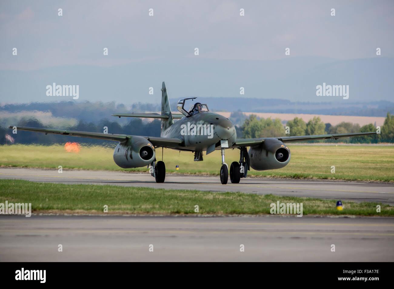 Messerschmitt Me-262 replica taxiing on the runway in Hradec Kralove, Czech Republic. - Stock Image