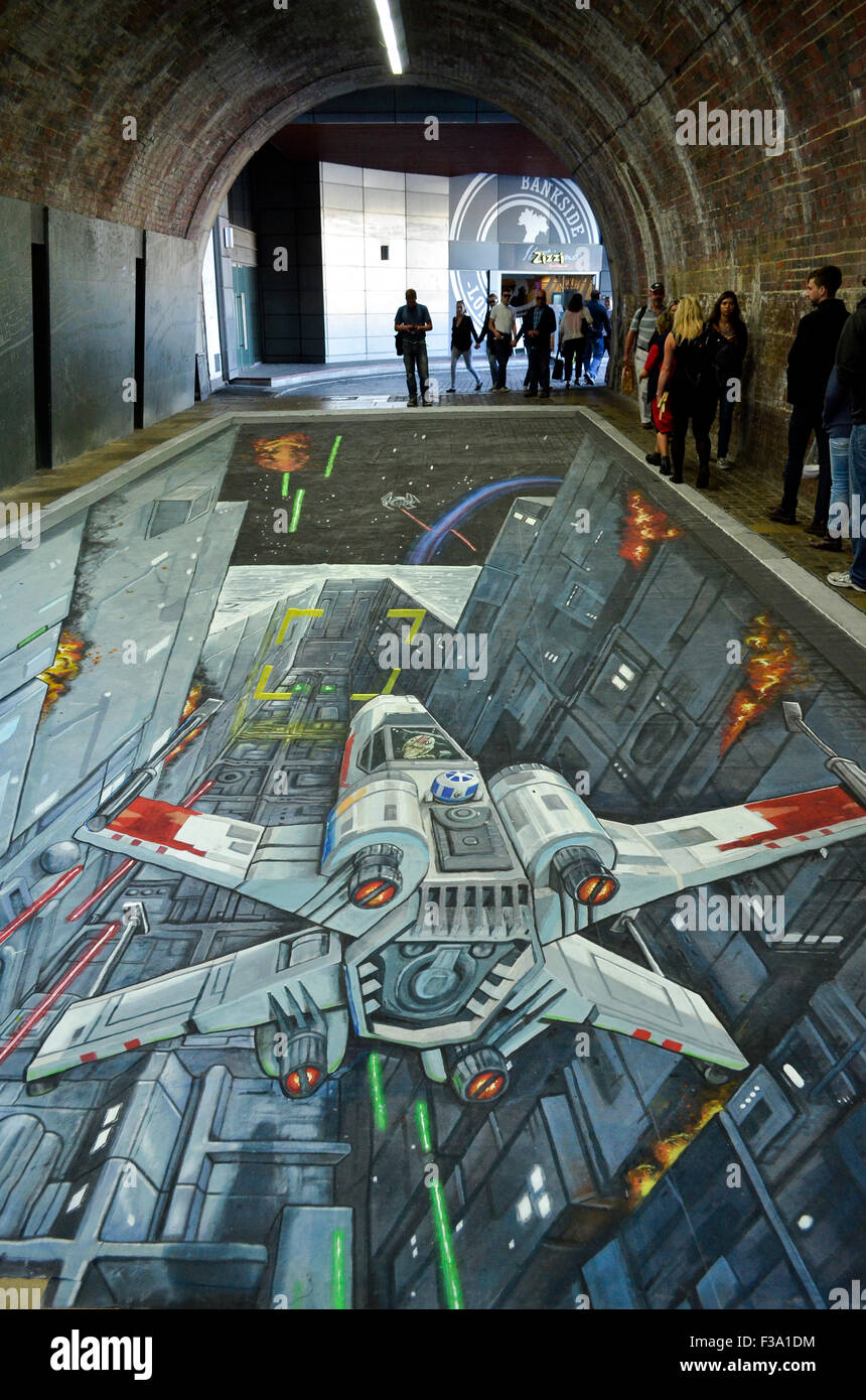 A 3-D Star Wars painting by Joe and Max which appeared in the pedestrian tunnel under Southwark Bridge, London, - Stock Image