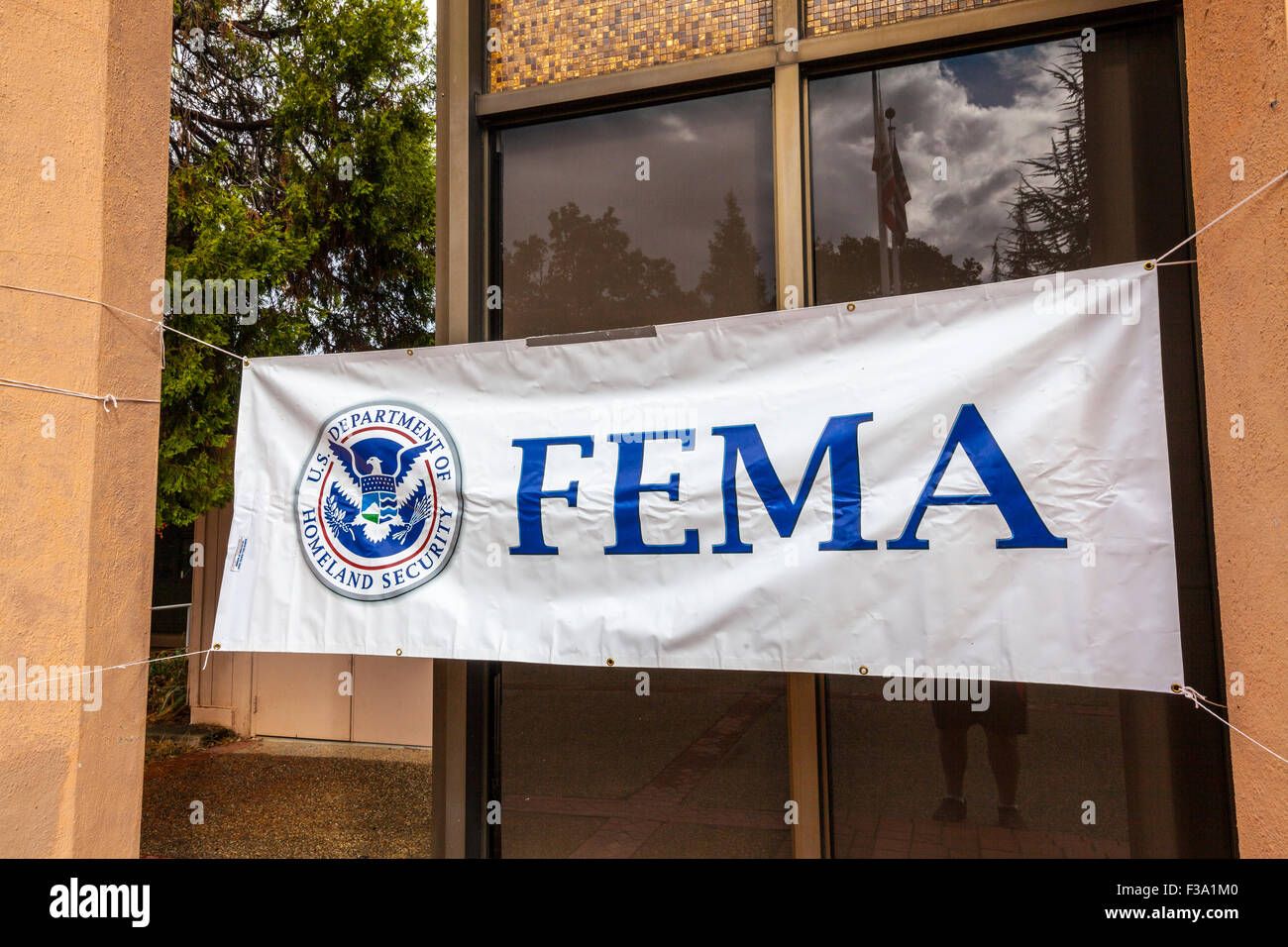 A Fema sign at the disaster recovery center in San Andreas California after the Butte fire left hundreds homeless. - Stock Image