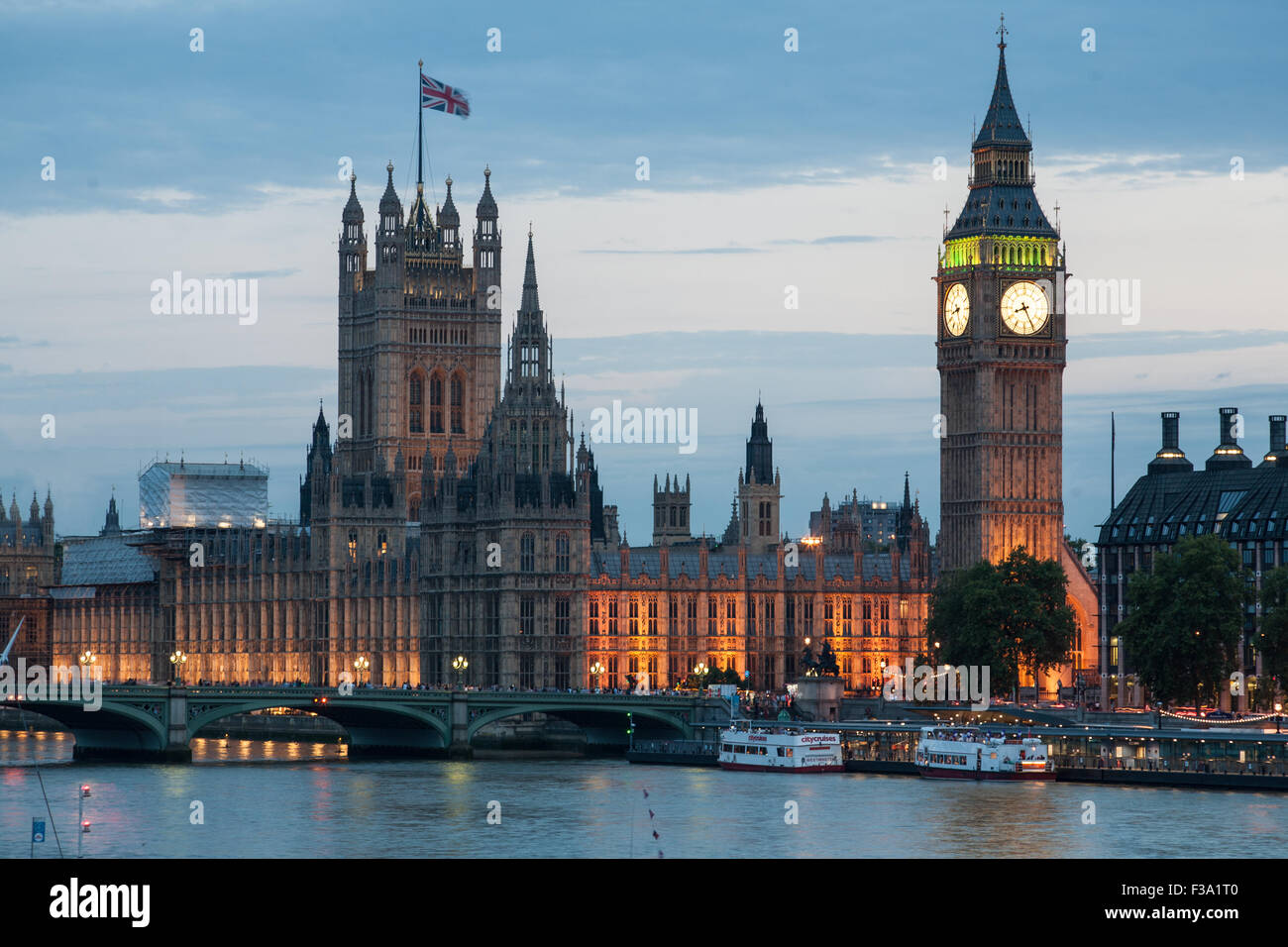 Big Ben and Houses or Parliament at night, Westminster, London - Stock Image