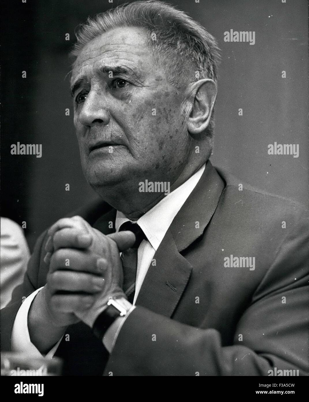 Dr. 21st Dec, 1975. Nahum Goldmann, former President of the Zionist Congress, regretted the Israel Government's - Stock Image
