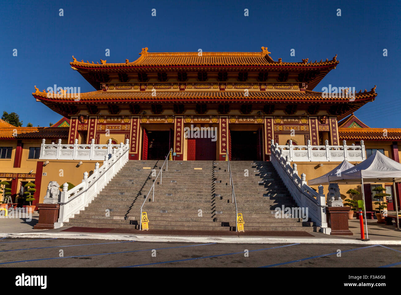 Front entrance of the Hsi Lai Buddhist Temple, Hacienda Heights, California, USA Stock Photo