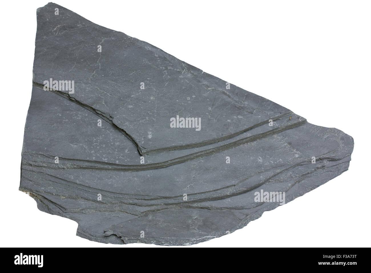 Slate (foliated metamorphic rock, metamorphosed shale) - Stock Image