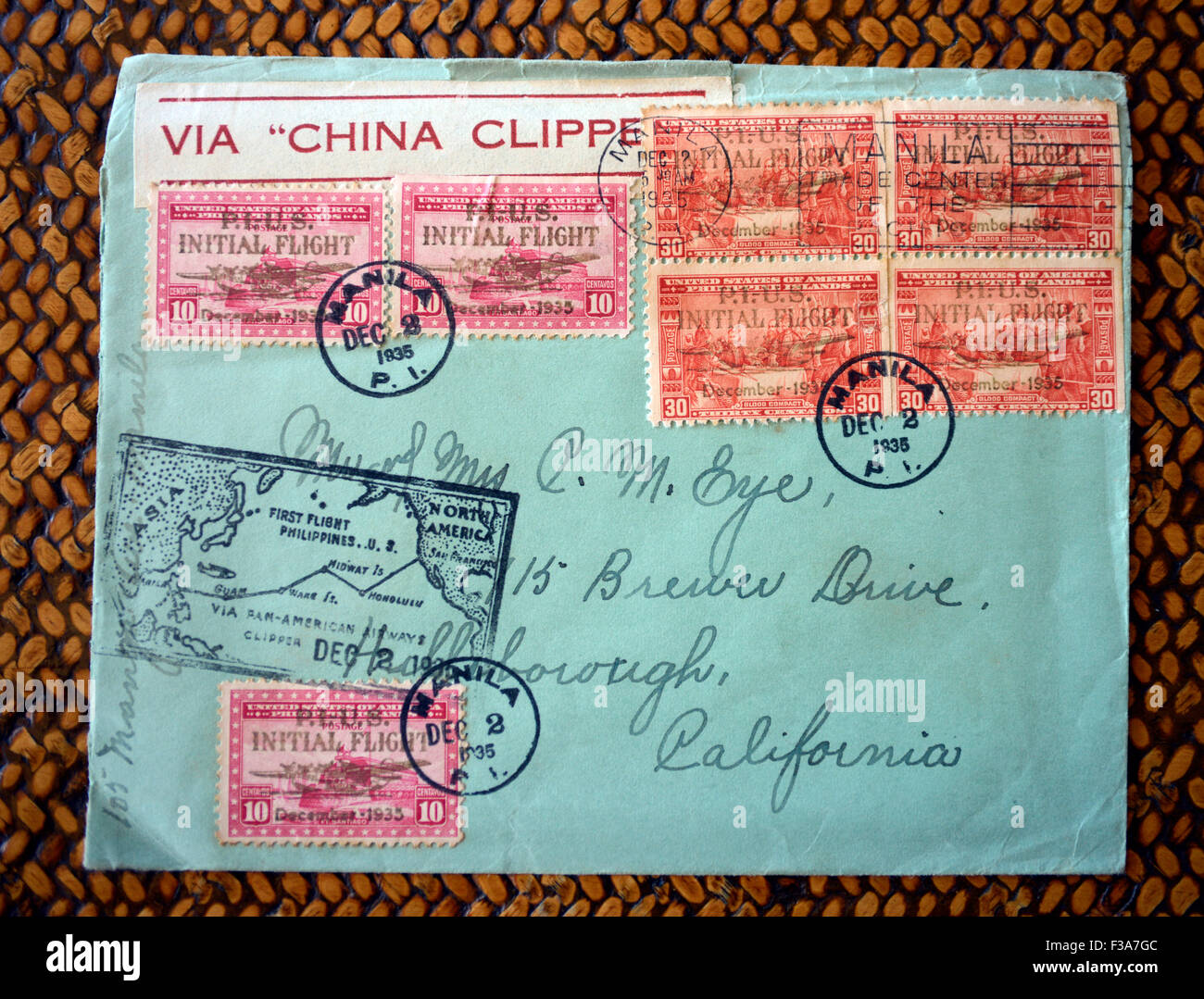 A stamped, postmarked envelope which flew on an early historic flight of the Pan Am China Clipper in 1935 / © - Stock Image