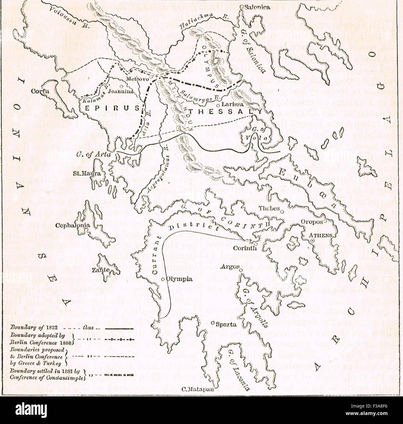 1882 plan boundaries Kingdom of Greece - Stock Image