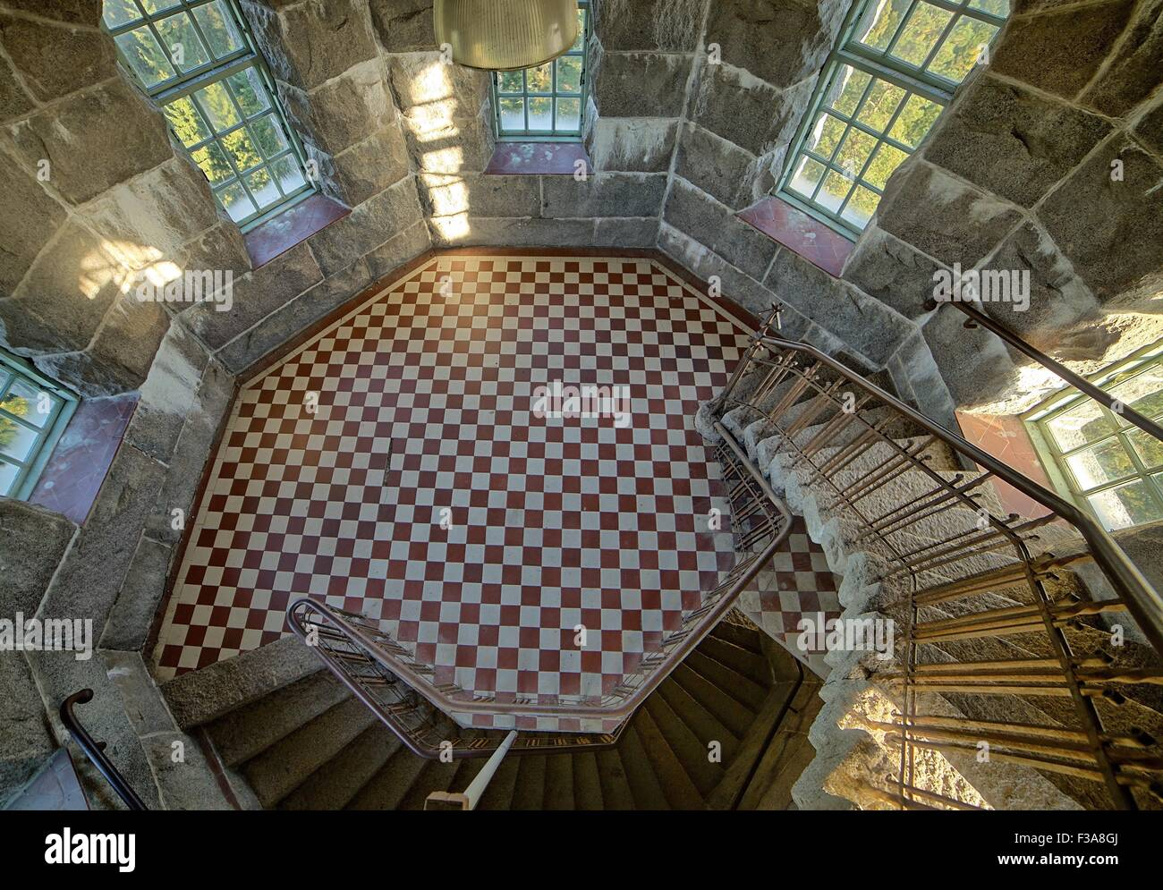 Charming Stone Tower Interior With Curved Staircase, HDR Image.