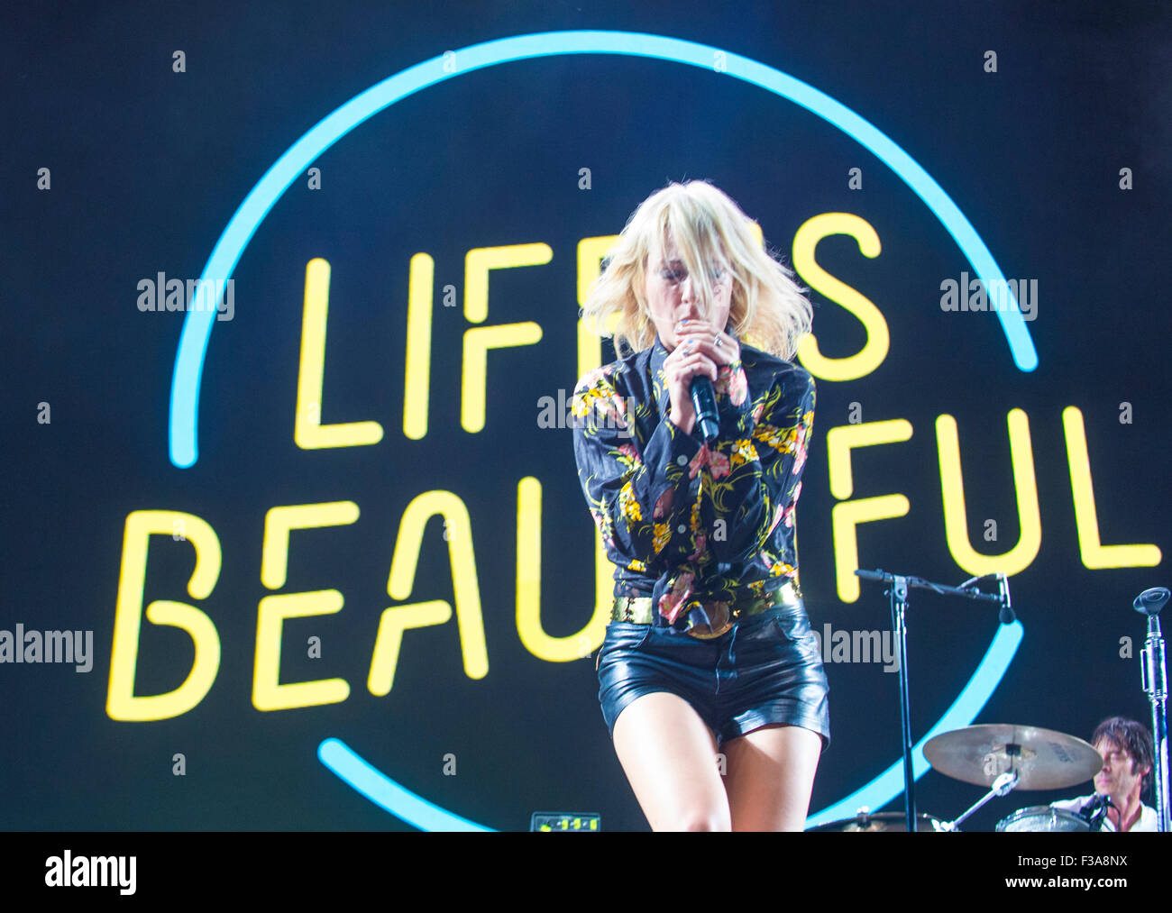 Musician Emily Haines of Metric performs onstage at the 2015 Life Is Beautiful Festival in Las Vegas - Stock Image