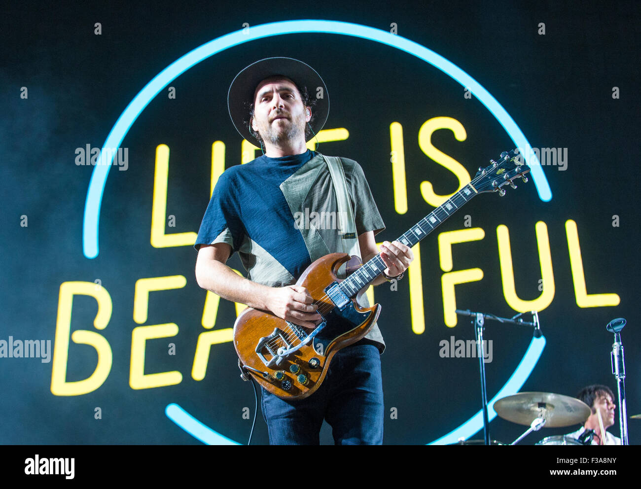 Musician James Shaw of Metric performs onstage at the 2015 Life Is Beautiful Festival in Las Vegas - Stock Image