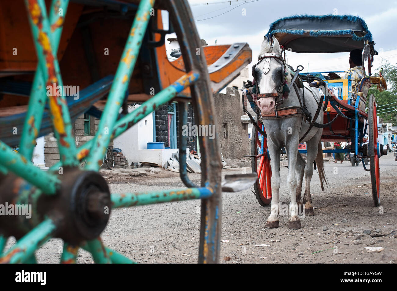 Horse drawn cart ('tonga' in hindi). In the foreground, the wheel of another horse drawn cart is visible - Stock Image