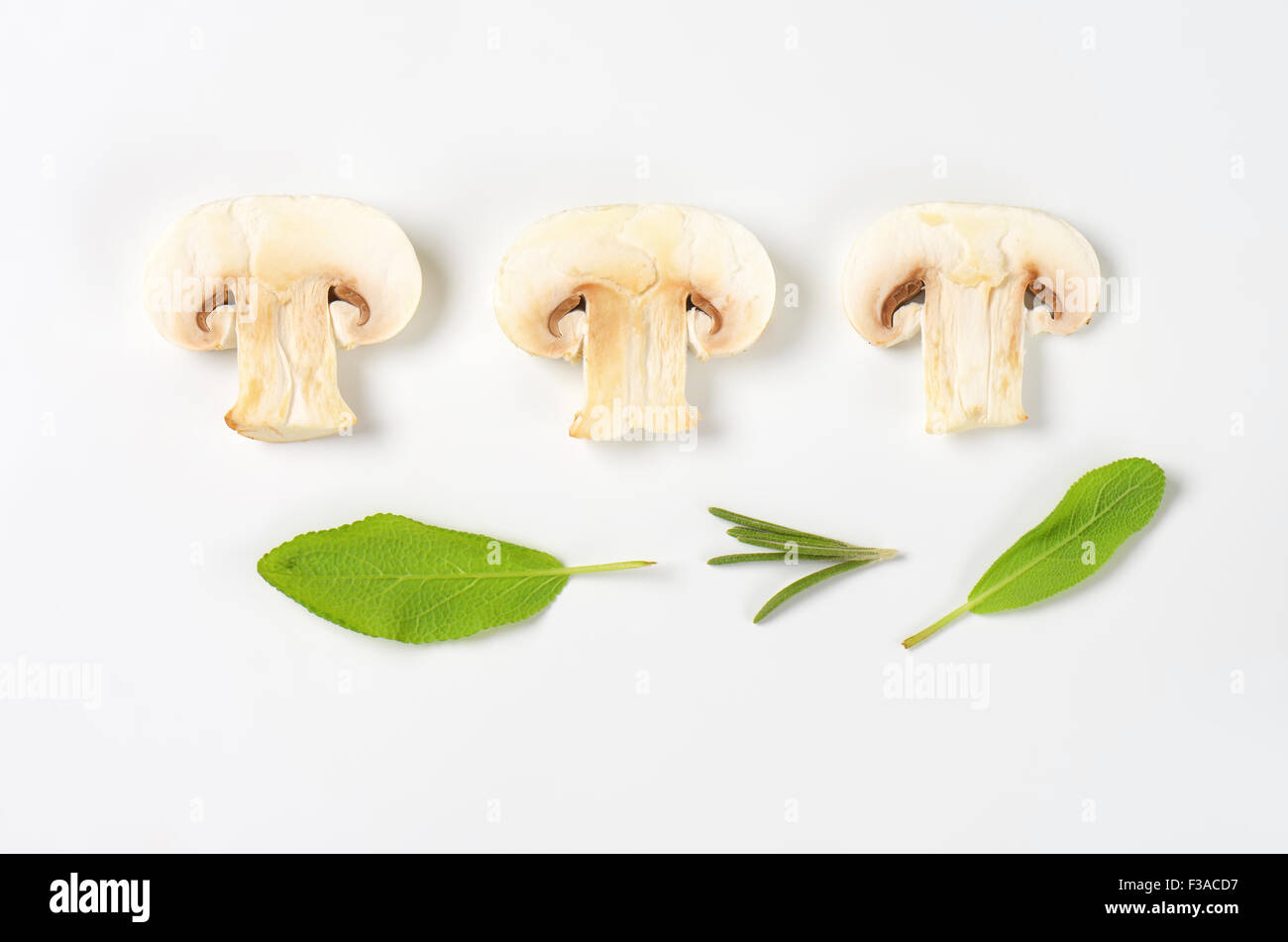 Slices of raw button mushroom and fresh herbs - Stock Image