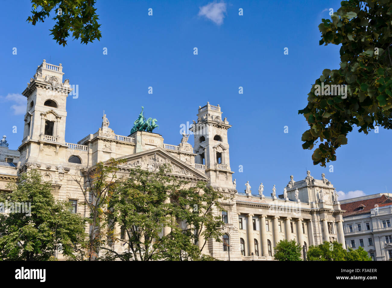 The Ethnography Museum building opposite the Hungarian Parliament, Budapest, Hungary. - Stock Image