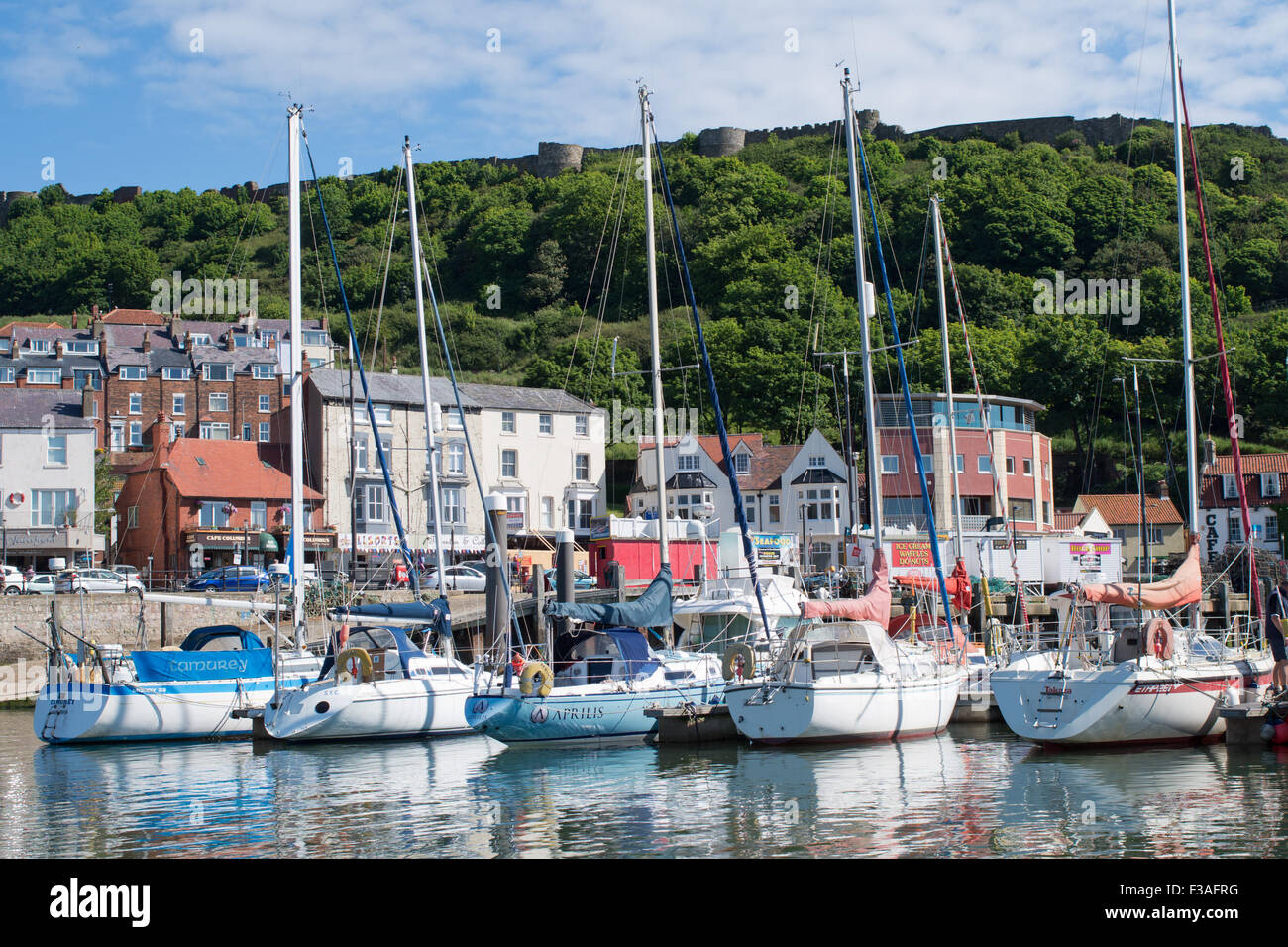 Yachts tied up in Scarborough harborough - Stock Image