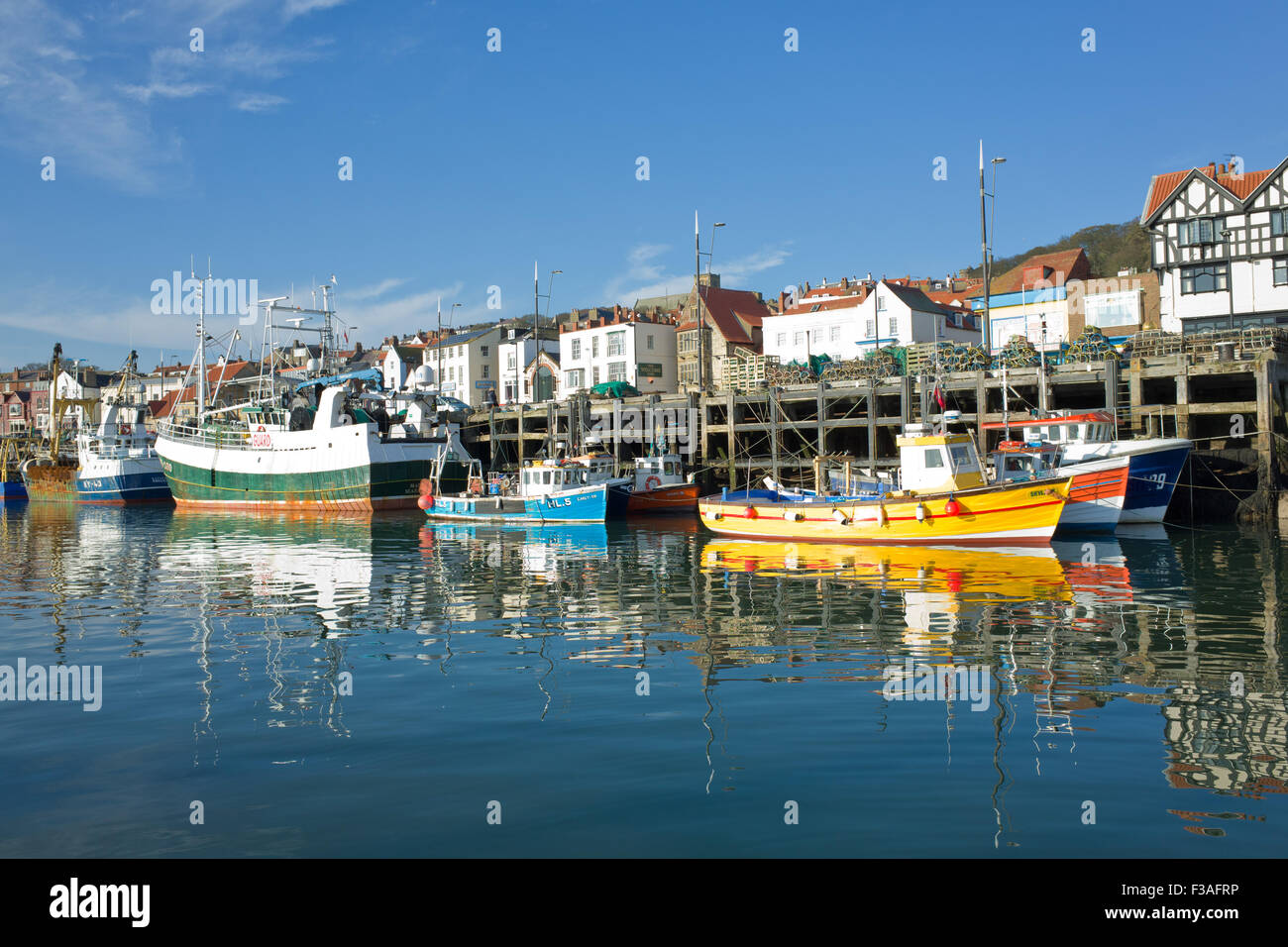 Fishing Boats in Scarborough Harbour UK Stock Photo
