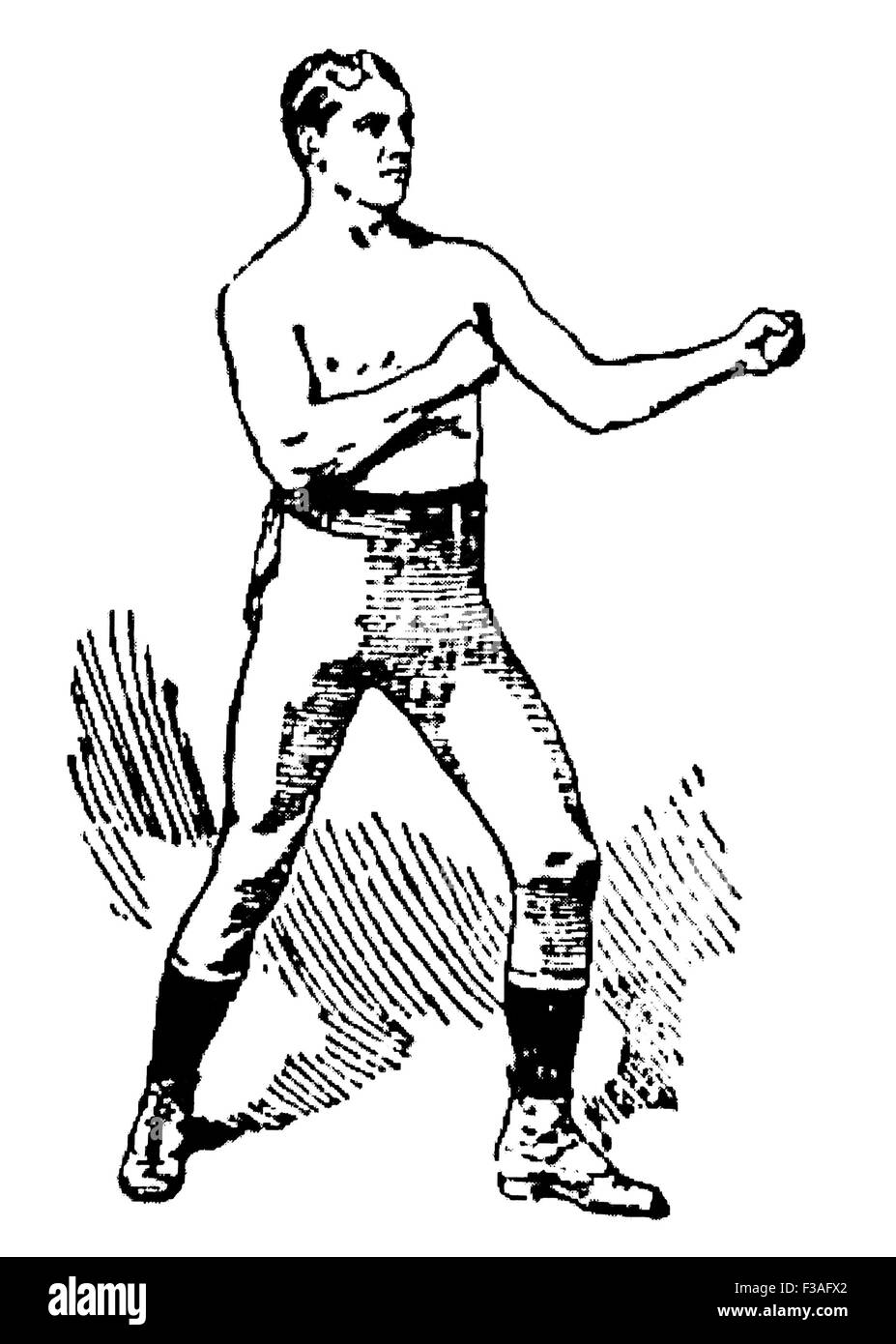 Vintage newspaper portrait of Irish-American boxer 'Nonpareil' Jack Dempsey (1862 - 1895) - often rated - Stock Image